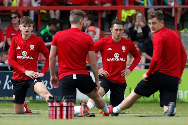 Soccer Football - Wales Training - The Racecourse, Wrexham, Britain - May 21, 2018 Wales' David Brooks and Connor Roberts during training Action Images via Reuters/Craig Brough