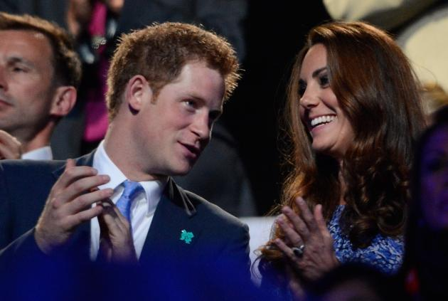 Prince Harry of Wales and Britain's Catherine, Duchess of Cambridge, applaud in the stands of the Olympic stadium during the closing ceremony of the 2012 London Olympic Games in London on August 12, 2012  -- Getty Images