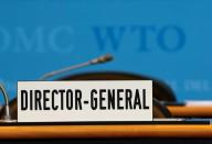FILE PHOTO: A sign is pictured in front of the chair of the Director General before the start of the General Council of the World Trade Organization (WTO) in Geneva