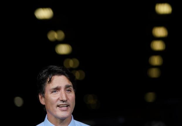 Liberal Leader Justin Trudeau announces green incentives toward climate change at a campaign stop during the federal election campaign in Cambridge, Ont., on Aug. 29. The Waterloo Regional Police Service confirmed Friday a man had been charged for threatening Trudeau during the campaign stop. (Nathan Denette/The Canadian Press - image credit)