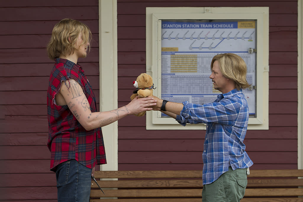 Braden (Alexander Ludwig) meeting his father, Marcus Higgins (David Spade) in Columbia Pictures' GROWN UPS 2.
