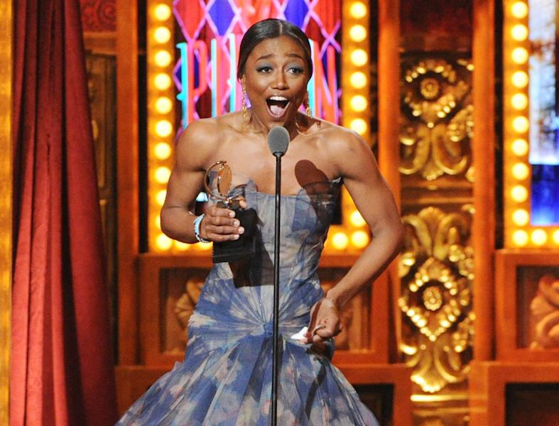 "FILE - This June 9, 2013 file photo shows Patina Miller accepting her Tony Award for best actress in a musical for her role in ""Pippin"" at the 67th Annual Tony Awards in New York. Six alumni from Carnegie Mellon University took home Tonys in five categories, a glittery haul that was both a school record and a huge source of pride for a theater department that turns 100 next year. Billy Porter, Patina Miller and Judith Light each took home acting Tonys, while Ann Roth got one for best costume design, and partners Jules Fisher and Peggy Eisenhauer won for best lighting design of a play. (Photo by Evan Agostini/Invision/AP, file)"