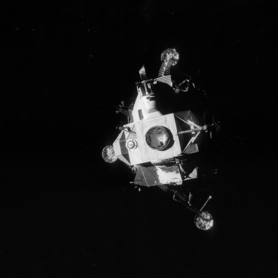 "This April 17, 1970 photo provided by NASA shows the Apollo 13 lunar module photographed from the command module just after the lunar module was jettisoned, about an hour before splashdown of the command module in the Pacific Ocean. The explosion of an oxygen tank in the service module forced the Apollo 13 crew members to rely on the lunar module as a ""lifeboat."" (NASA via AP)"