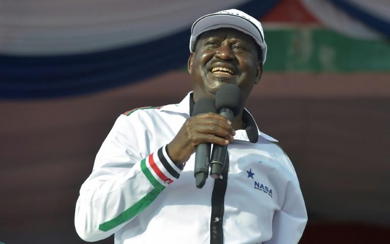Former Kenyan premier Raila Odinga was named as the presidential candidate during an opposition rally in Nairobi, on April 27, 2017