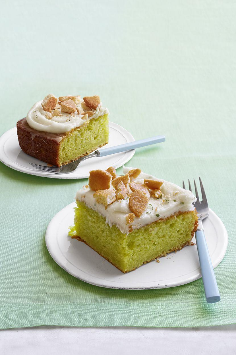 """<p>For lovers of key lime pie, this key lime cake is soaked with lime juice and is tart, sweet, and completely delicious. </p><p><em><strong><a href=""""https://www.womansday.com/food-recipes/food-drinks/recipes/a53696/key-lime-poke-cake/"""" rel=""""nofollow noopener"""" target=""""_blank"""" data-ylk=""""slk:Get the Key Lime Poke Cake recipe."""" class=""""link rapid-noclick-resp"""">Get the Key Lime Poke Cake recipe.</a></strong></em></p>"""