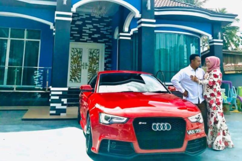 Nur Amyza bought a striking red Audi A3 for her husband as a reward for his hard work in growing their business. — Picture from Facebook/nuramyza.amy