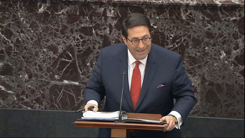 In this image from video, personal attorney to President Donald Trump, Jay Sekulow, speaks during the impeachment trial against Trump in the Senate at the U.S. Capitol in Washington, Saturday, Jan. 25, 2020. (Senate Television via AP)