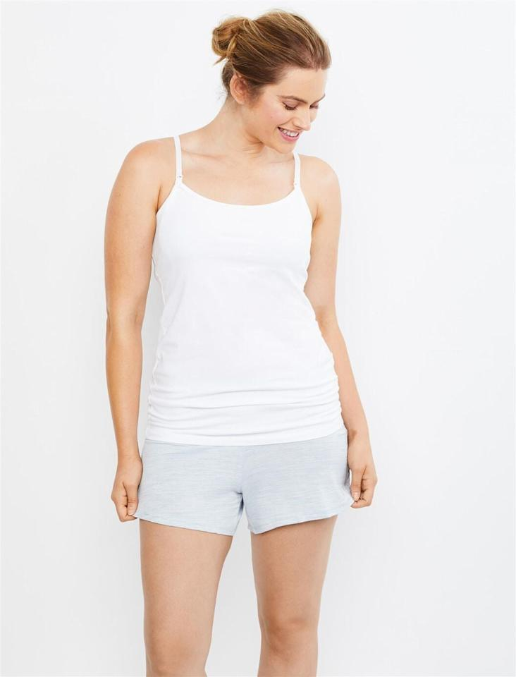 "<p>If you're looking for something lighter, try the <a href=""https://www.popsugar.com/buy/Ruched-Waist-Maternity-Sleep-Shorts-Blue-Spacedye-487329?p_name=Ruched%20Waist%20Maternity%20Sleep%20Shorts%20in%20Blue%20Spacedye&retailer=destinationmaternity.com&pid=487329&price=15&evar1=moms%3Aus&evar9=46576574&evar98=https%3A%2F%2Fwww.popsugar.com%2Ffamily%2Fphoto-gallery%2F46576574%2Fimage%2F46576577%2FRuched-Waist-Maternity-Sleep-Shorts-in-Blue-Spacedye&prop13=api&pdata=1"" rel=""nofollow"" data-shoppable-link=""1"" target=""_blank"" class=""ga-track"" data-ga-category=""Related"" data-ga-label=""https://www.destinationmaternity.com/ruched-waist-maternity-sleep-shorts/006-96157-000-001.html"" data-ga-action=""In-Line Links"">Ruched Waist Maternity Sleep Shorts in Blue Spacedye</a> ($15).</p>"