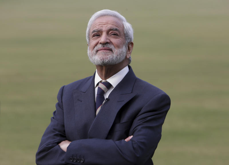 In this Feb. 10, 2019 photo, Pakistan Cricket Board chairman Ehsan Mani listens to a question during an interview with the Associated Press in Lahore, Pakistan. Mani said fully-fledged cricket could be revived in Pakistan later 2019 with teams from Bangladesh and Sri Lanka touring Pakistan.The Pakistan Super League is not like any other domestic Twenty20 cricket league around the world. It can't compete financially with the lucrative Indian Premier League in terms of player payments, yet it's a dream for Pakistani cricketer to be part of it. (AP Photo/K.M. Chaudary)