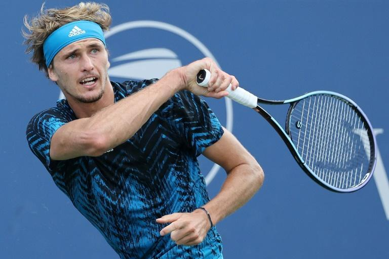 Germany's Alexander Zverev on the way to victory over Andrey Rublev in the final of the ATP Cincinnati Masters