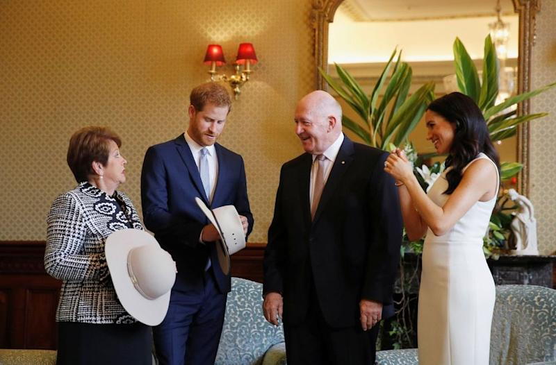 Lady Lynne Cosgrove, Prince Harry, Governor General Peter Cosgrove and Meghan Markle