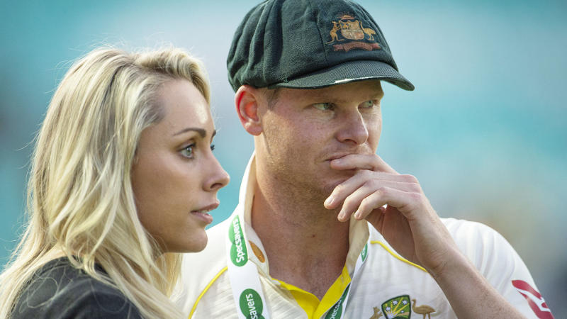 Steve Smith, pictured here with wife Dani Willis after the fifth Ashes Test.