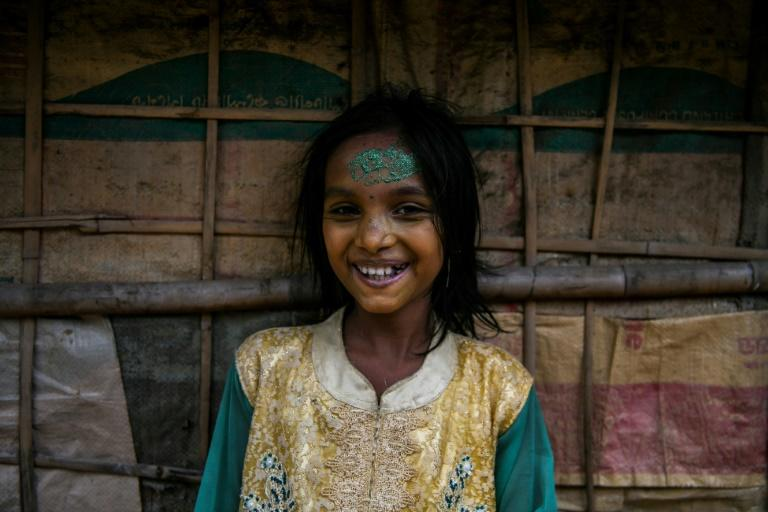Young Rohingya refugee Rusna Akhtar, 11, during wedding celebrations in Kutupalong refugee camp near Cox's Bazar