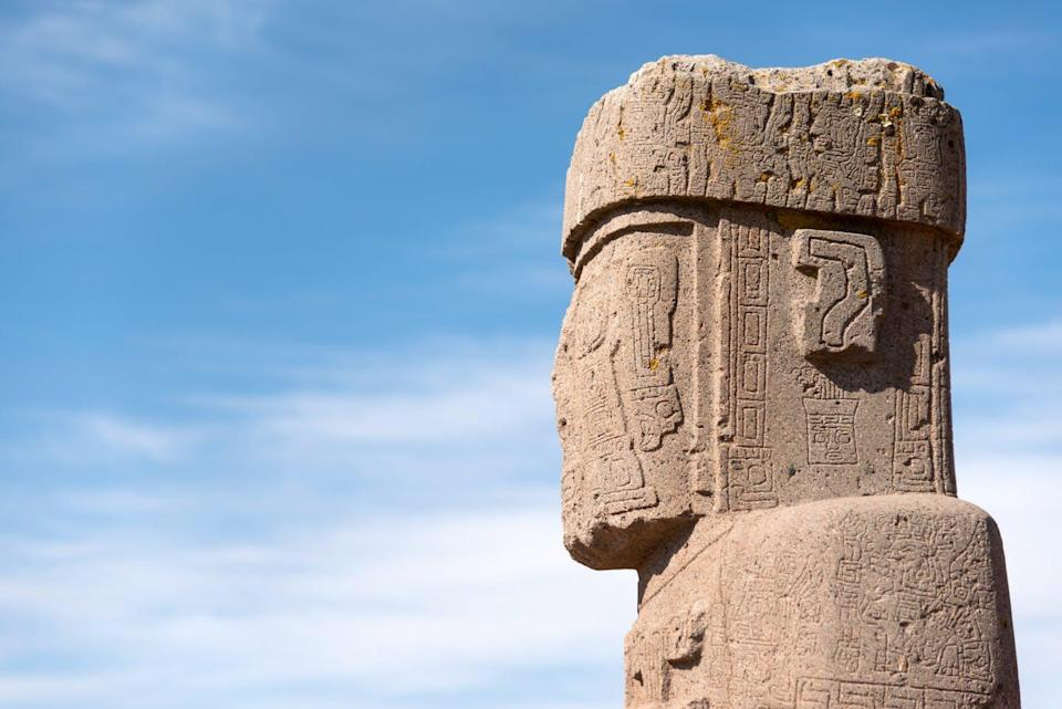 "<span class=""caption"">The head of a monumental stone statue from Tiwanaku, Bolivia. </span> <span class=""attribution""><span class=""source"">(Shutterstock)</span></span>"