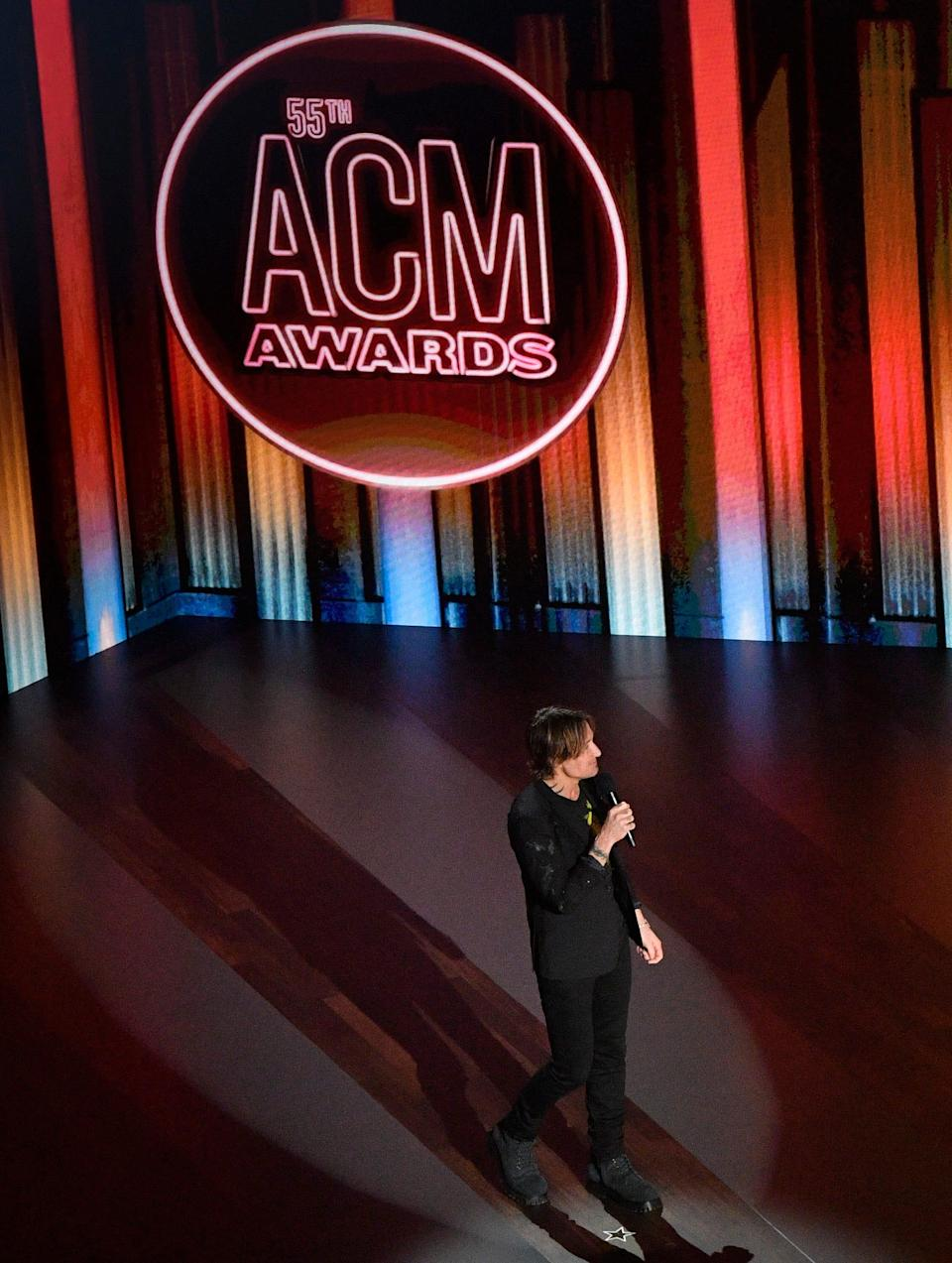 Keith Urban introduces Kane Brown's performance during the 55th Academy of Country Music Awards at the Grand Ole Opry Wednesday, Sept. 16, 2020 in Nashville, Tenn.