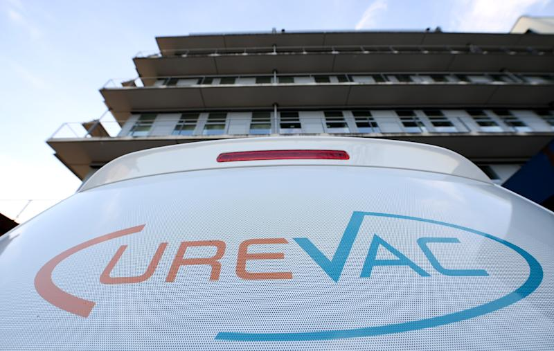 TUBINGEN, GERMANY - MARCH 15: The label of the German biotech firm CureVacThe seen of a car in front of the headquarters housed in the 'Biotechnologiezentrum Paul-Ehrlich-Strasse' on March 15, 2020 in Tubingen, Germany. According to German media outlet Welt am Sonntag U.S. President Donald Trump is seeking exclusive access for the United States to a potential coronavirus vaccine under development by CureVac. The issue is causing diplomatic ripples with the German government, which wants a potential vaccine to be available for Europe and other countries as well, not just for the United States. (Photo by Matthias Hangst/Getty Images)