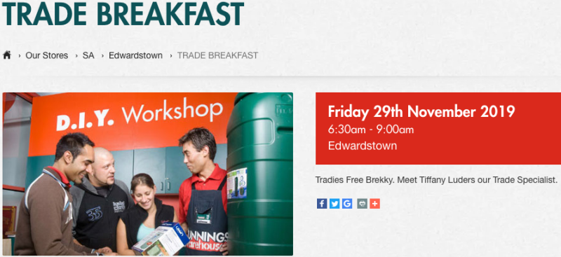 Free Trade Breakfast invitation from Bunnings Warehouse at Edwardstown, South Australia.