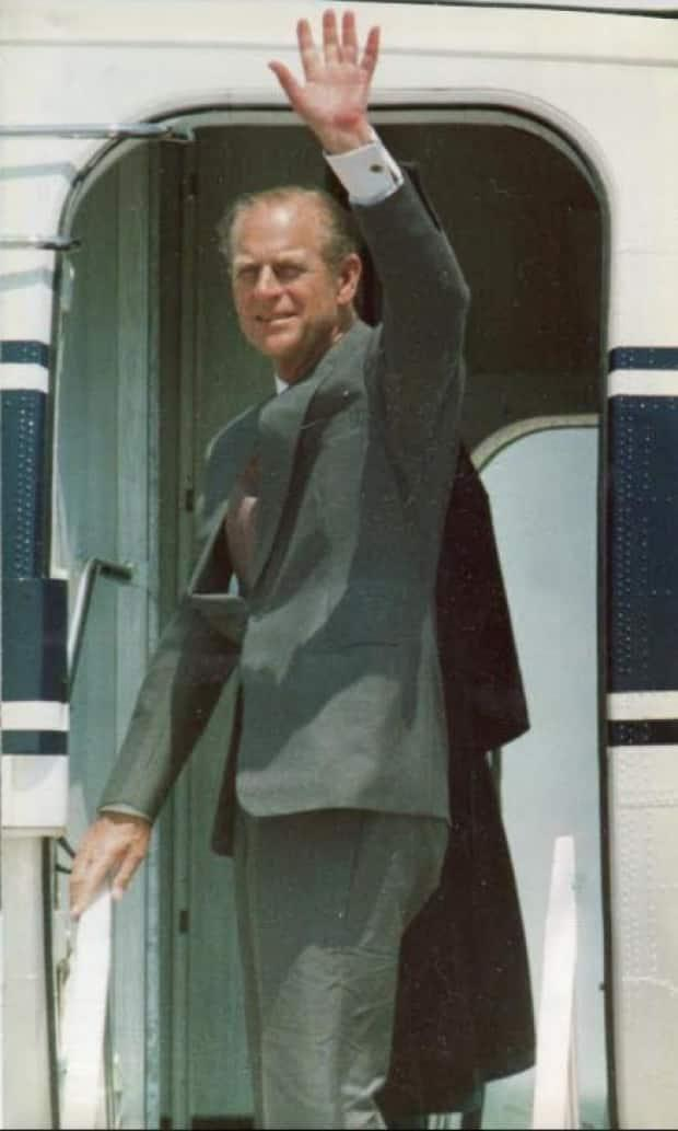 This images taken on July 3, 1983, shows Prince Philip waving good-bye. The photo caption in the London Free Press said
