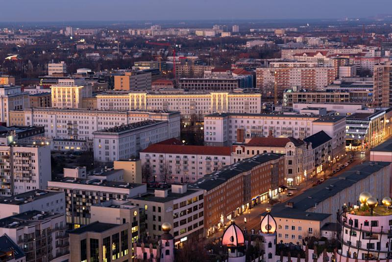 """16 January 2020, Saxony-Anhalt, Magdeburg: View from the cathedral to the """"Stalinbauten"""" in the city centre of Magdeburg. Buildings in the style of socialist classicism can also be found in Chemnitz, Leipzig, Dresden, Berlin and Eisenhüttenstadt, among others. Photo: Stephan Schulz/dpa-Zentralbild/ZB (Photo by Stephan Schulz/picture alliance via Getty Images)"""