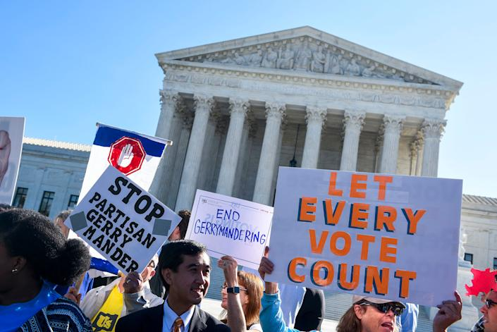 Protesters rally outside the Supreme Court on Oct 3, 2017. The addition of a citizenship question to the 2020 census could lay the groundwork for future redistricting efforts. (Photo: Leigh Vogel via Getty Images)