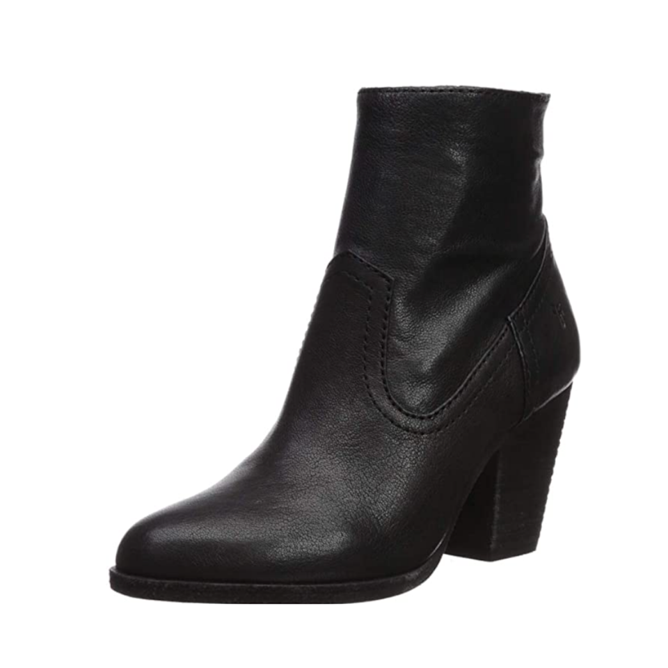 """Frye has been nailing the Western boot game for 158 years and counting, and these ankle booties are a fan-fave on Amazon. They've earned glowing reviews on Amazon, with customers raving about the super-soft leather and easy all-day wear. $45, Amazon. <a href=""""https://www.amazon.com/FRYE-Womens-Bootie-Ankle-Cognac/dp/B07L95C7GD"""" rel=""""nofollow noopener"""" target=""""_blank"""" data-ylk=""""slk:Get it now!"""" class=""""link rapid-noclick-resp"""">Get it now!</a>"""