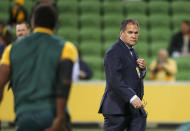 Australian coach Dave Rennie watches his players warm up ahead of the second rugby test between France and Australia in Melbourne, Australia, Tuesday, July 13, 2021. (AP Photo/Asanka Brendon Ratnayake)