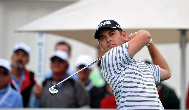 Louis Oosthuizen tee's off during the second round of The Volvo Champions in Durban on January 11, 2013