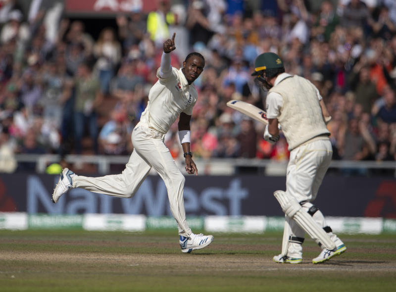 MANCHESTER, ENGLAND - SEPTEMBER 07: Jofra Archer of England celebrates bowling Travis Head of Australia on day four of the fourth Specsavers test match at Emirates Old Trafford on September 7, 2019 in Manchester, England. (Photo by Visionhaus/Getty Images)