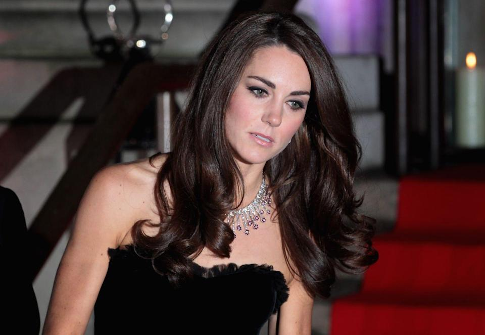 <p>The Duchess of Cambridge wore a ruby and diamond necklace by jeweler Mouwad at an engagement in 2011.</p>