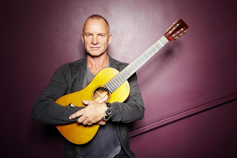 """FILE - In this Sept. 26, 2013, file photo, Sting poses for a portrait at The Public Theater in New York. After a successful run with his seminal band, The Police, and the prolific solo career that followed, his first new recording in nearly a decade """"The Last Ship,"""" may be his most ambitious project. (Photo by Dan Hallman/Invision/AP, File)"""