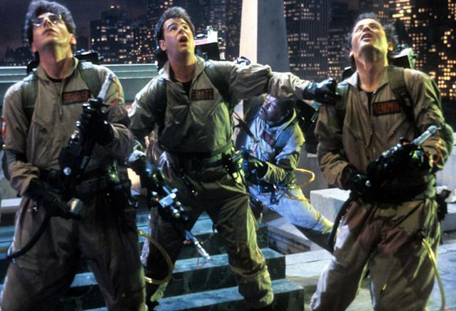 Harold Ramis, Dan Aykroyd, and Bill Murray in a scene from the film Ghostbusters, 1984. (Credit: Columbia Pictures/Getty Images)