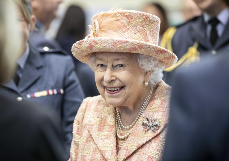 Queen Elizabeth II during a visit to Royal Air Force Marham, Norfolk, where she inspected the new integrated training centre that trains personnel on the maintenance of the new RAF F-35B Lightning II strike aircraft.