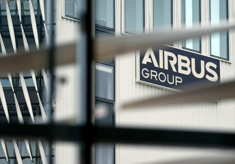 The logo of Airbus is pictured during Airbus annual press conference on the 2017 financial results in Blagnac near Toulouse