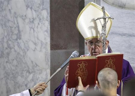 Pope Francis celebrates mass during Ash Wednesday at Santa Sabina Basilica in Rome