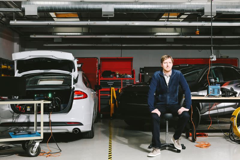 Luminar Technologies, Inc. Chief Executive Austin Russell poses for a photo at the self-driving car sensor maker's facility in Palo Alto