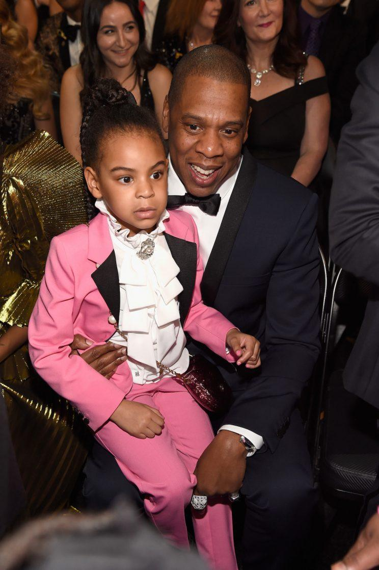 Blue Ivy Carter poses with her father, Jay Z, at the 2017 Grammy Awards. (Photo: Getty Images)