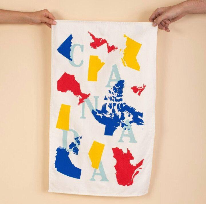 """A pretty tea towel instantly makes any kitchen 10% nicer. It's a scientific fact*. <a href=""""https://www.drakegeneralstore.ca/canadiana/arborist-canada-map-tea-towel#.W_3u05NKhTY"""">Get it here.</a><br /> <br /> *Not actually a scientific fact."""
