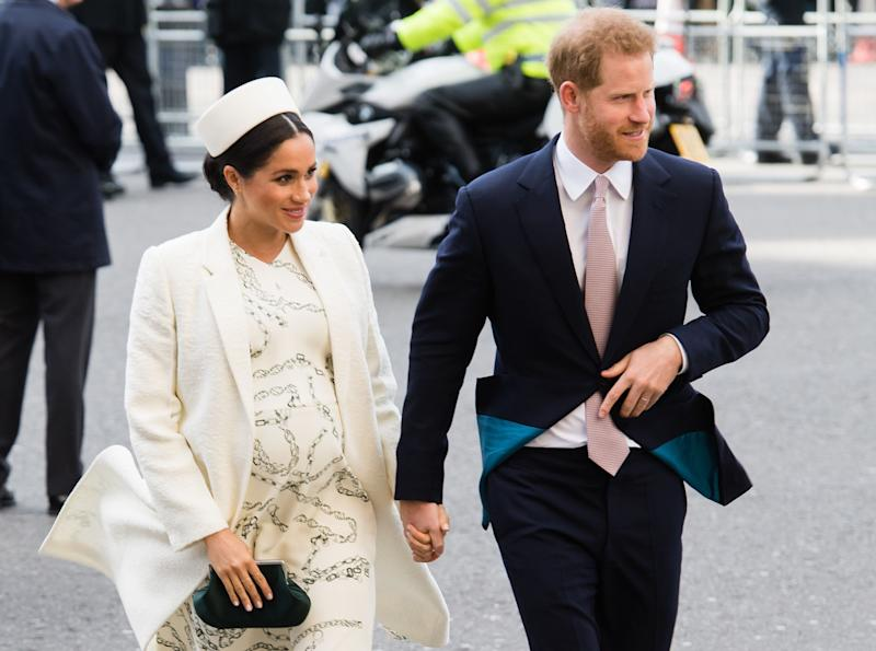LONDON, ENGLAND - MARCH 11: Prince Harry, Duke of Sussex and Meghan, Duchess of Sussex attend the Commonwealth Day service at Westminster Abbey on March 11, 2019 in London, England. (Photo by Samir Hussein/Samir Hussein/WireImage)