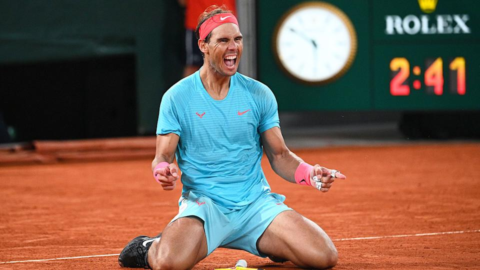 Seen here, Rafael Nadal celebrates after winning his 13th French Open title.