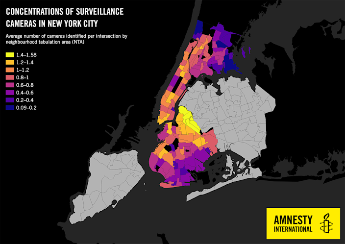 Map of surveillance cameras at intersections in New York City (Amnesty International)