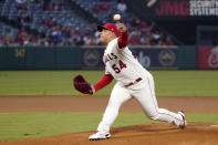 Los Angeles Angels starting pitcher Jose Suarez throws to the plate during the first inning of a baseball game against the Seattle Mariners Friday, Sept. 24, 2021, in Anaheim, Calif. (AP Photo/Mark J. Terrill)