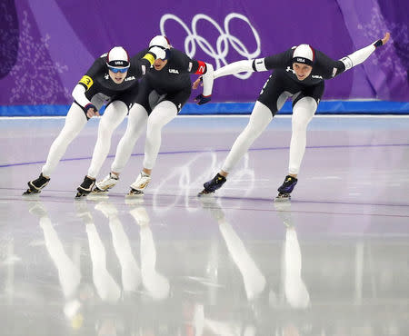 Speed Skating - Pyeongchang 2018 Winter Olympics - Women's Team Pursuit Competition Finals - Gangneung Oval - Gangneung, South Korea - February 21, 2018. Heather Bergsma, Brittany Bowe and Mia Manganello of the U.S in action. REUTERS/Phil Noble