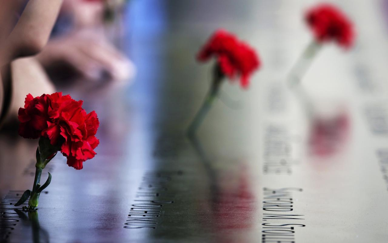 Carnations are left on names inscribed into the North Pool during 9/11 Memorial ceremonies marking the 12th anniversary of the 9/11 attacks on the World Trade Center in New York on September 11, 2013. REUTERS/Adrees Latif (UNITED STATES - Tags: DISASTER ANNIVERSARY)