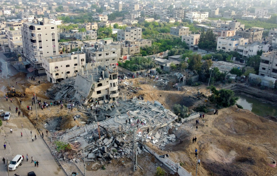 A picture taken with a drone shows the ruins of buildings which were destroyed in Israeli air strikes amid a flare-up of Israeli-Palestinian violence, in the northern Gaza Strip. (Reuters/Mohammed Salem)