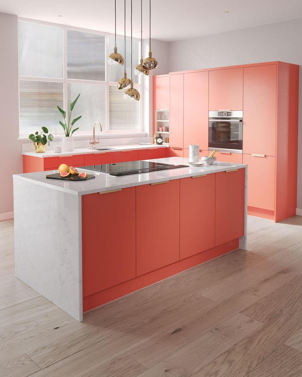 """<p>A rivetingly colourful kitchen never fails to impress. Spice up your space with a burst of <a href=""""https://www.housebeautiful.com/uk/decorate/kitchen/g36287711/kitchen-colour-trends/"""" rel=""""nofollow noopener"""" target=""""_blank"""" data-ylk=""""slk:colour"""" class=""""link rapid-noclick-resp"""">colour</a>, such as red, orange or bright blue. It's the perfect way to make a statement. </p><p>• 'Contour' kitchen in spectrum coral colour from <a href=""""https://www.wrenkitchens.com/"""" rel=""""nofollow noopener"""" target=""""_blank"""" data-ylk=""""slk:Wren Kitchens"""" class=""""link rapid-noclick-resp"""">Wren Kitchens</a> </p>"""