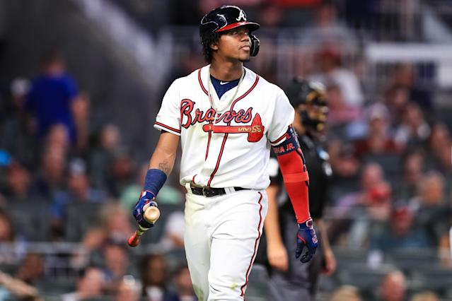 "<a class=""link rapid-noclick-resp"" href=""/mlb/players/10646/"" data-ylk=""slk:Ronald Acuña Jr."">Ronald Acuña Jr.</a> was benched for a lack of hustle on Sunday. (Photo by Carmen Mandato/Getty Images)"