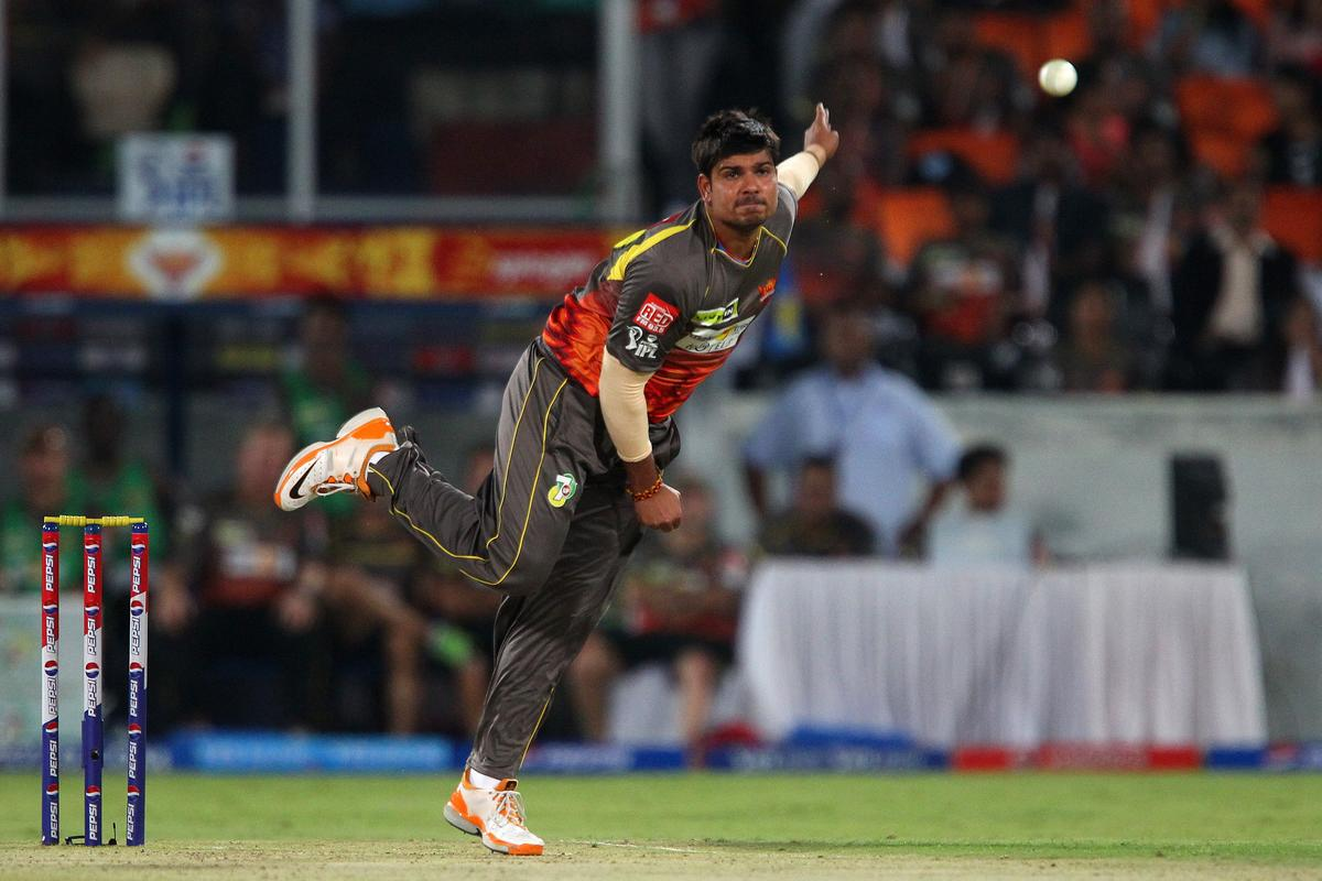 Karan Sharma during match 25 of the Pepsi Indian Premier League between The Sunrisers Hyderabad and The Kings XI Punjab held at the Rajiv Gandhi International  Stadium, Hyderabad  on the 19th April 2013..Photo by Ron Gaunt-IPL-SPORTZPICS..Use of this image is subject to the terms and conditions as outlined by the BCCI. These terms can be found by following this link:..https://ec.yimg.com/ec?url=http%3a%2f%2fwww.sportzpics.co.za%2fimage%2fI0000SoRagM2cIEc&t=1500576832&sig=HrroFMtXSXPylxnRXnF0.A--~C