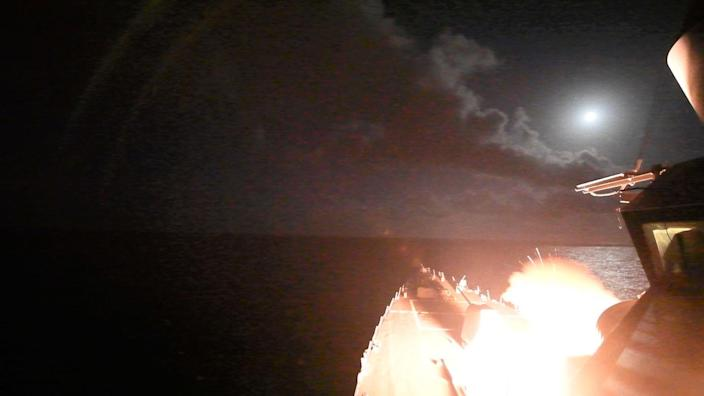 <p>The guided-missile destroyer Porter launches a Tomahawk missile in the Mediterranean Sea, April 7, 2017, blasting a Syrian air base in retaliation for this week's gruesome chemical weapons attack against civilians. (U.S. Navy via AP) </p>