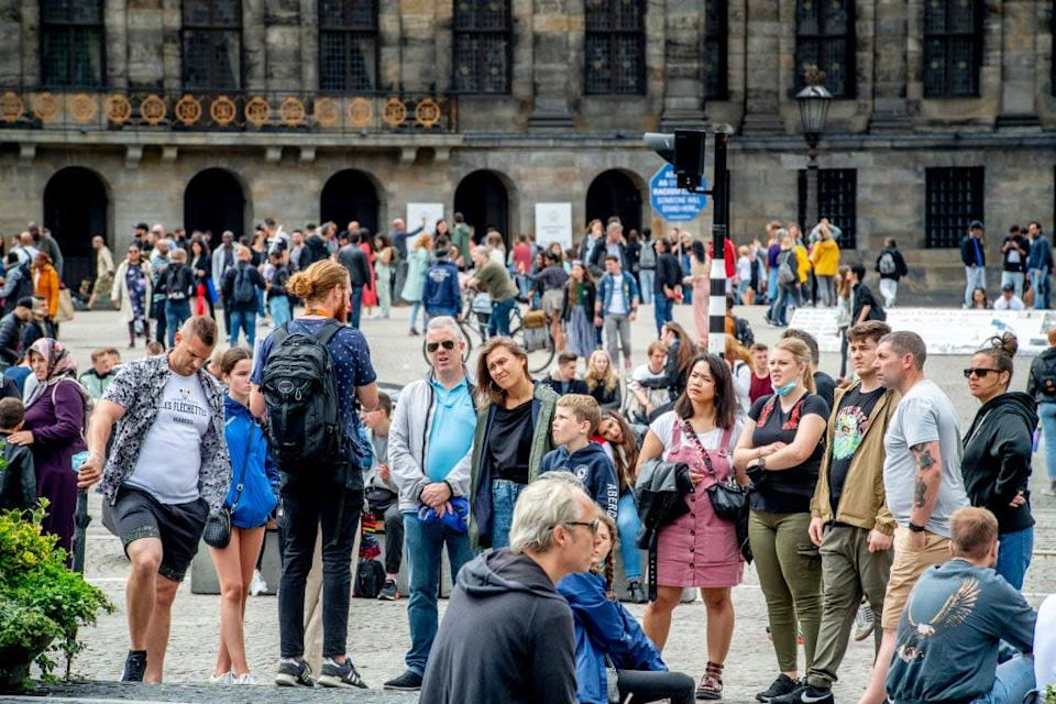 A tour group in Amsterdam this month - getty