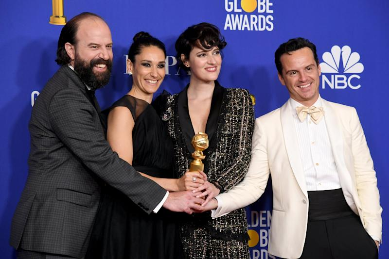 BEVERLY HILLS, CALIFORNIA - JANUARY 05: (L-R) Brett Gelman, Sian Clifford, Phoebe Waller-Bridge and Andrew Scott, winners of Best Television Series - Musical or Comedy poses in the press room during the 77th Annual Golden Globe Awards at The Beverly Hilton Hotel on January 05, 2020 in Beverly Hills, California. (Photo by Kevin Winter/Getty Images)